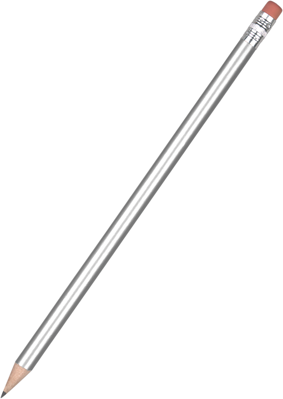 Promotional Standard Pencil with Eraser - Silver