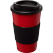 Americano Travel Mug with Grip - Red (with black grip & lid)