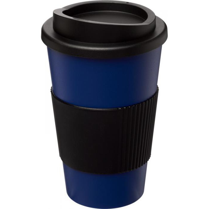 Americano Travel Mug with Grip - Blue (with black grip & lid)