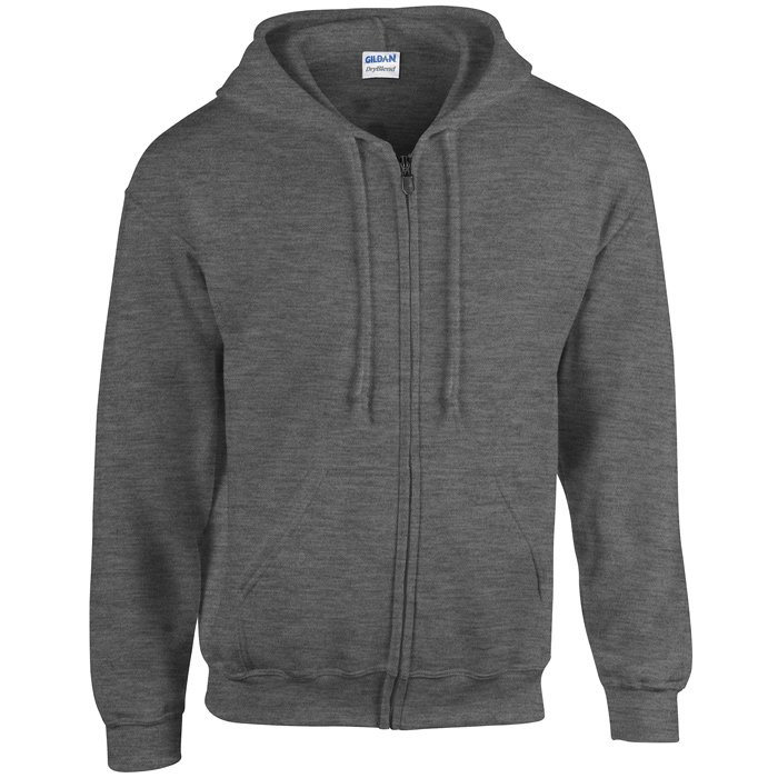 Gildan Zipped Hoodie - Dark Heather Grey