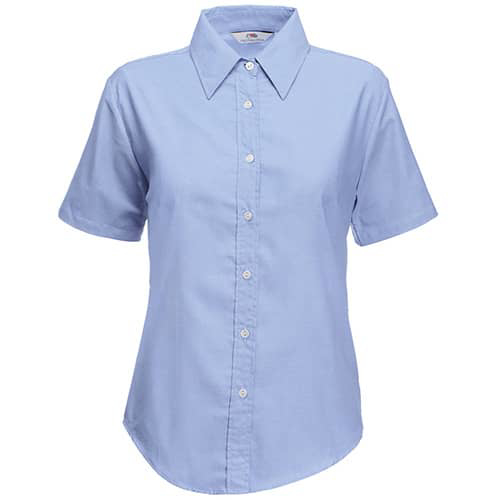 Fruit of the Loom Lady Fit Short Sleeve Oxford Shirt - Oxford Blue