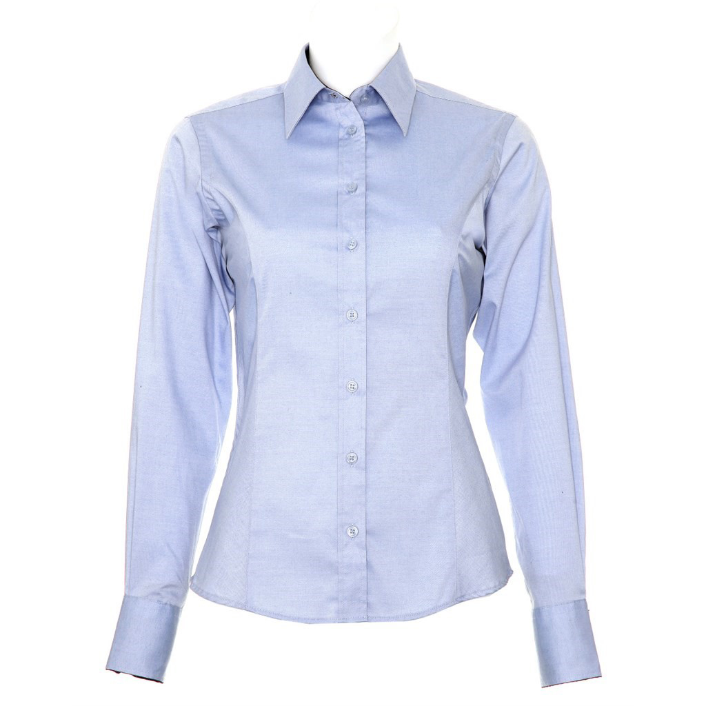 Kustom Kit Ladies Long Sleeve Shirt - Light Blue